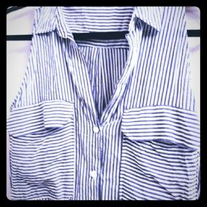 Adorable button down blue & white stripped shirt